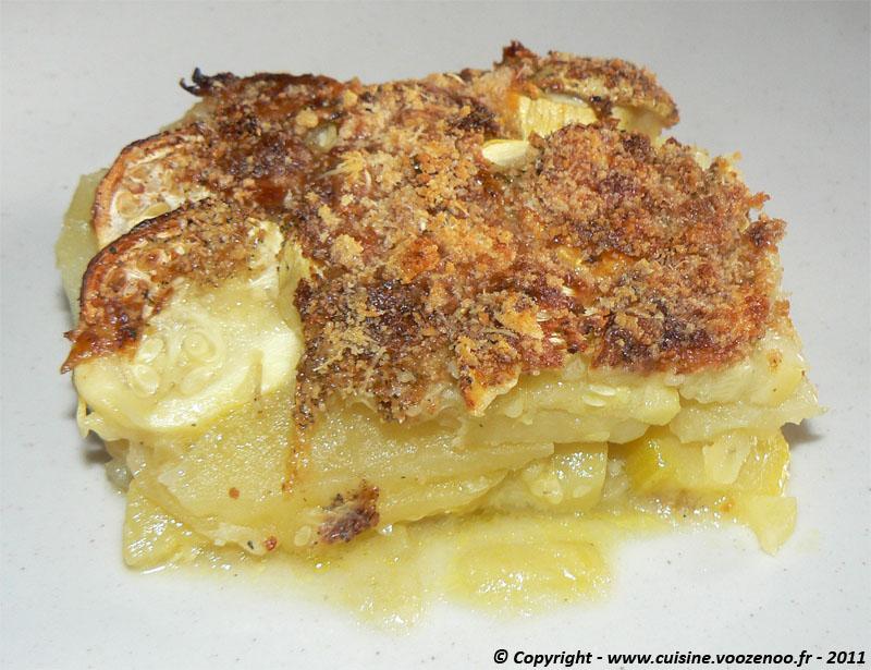 Gratin de courgettes,pommes de terre au bouillon presentation