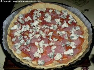 Tarte à la tomate et roquefort etape4
