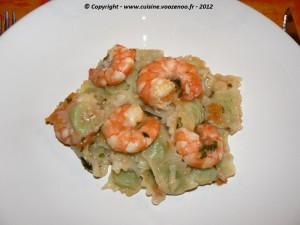 Ravioles sauce provençale et gambas presentation