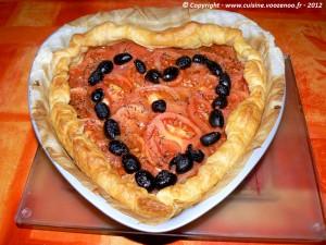 Coeur feuilleté de tomates fin