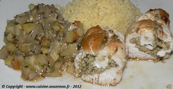 Blancs de poulet farcis aux olives vertes une