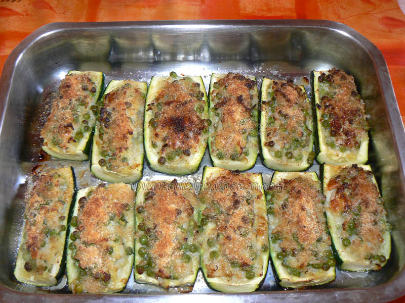 Courgettes farcies au roquefort fin