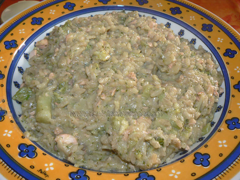 Risotto au brocolis, saumon et parmesan fin