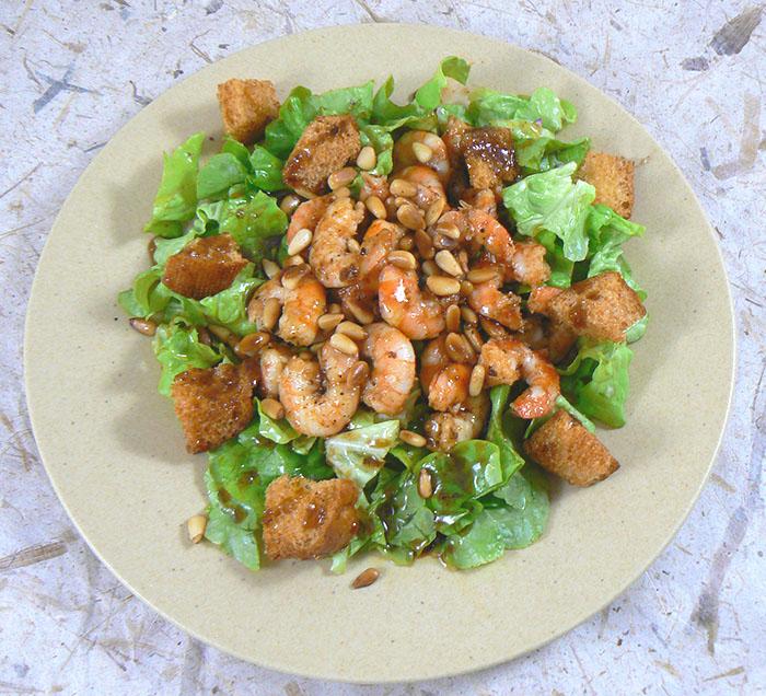 Salade tiède de scampis fin
