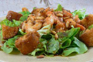 Salade tiède de scampis slider