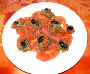 Salade poivrons e taubergines marines presentation