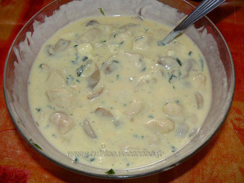 Cake aux blancs de poulet, champignons et mozzarella etape3