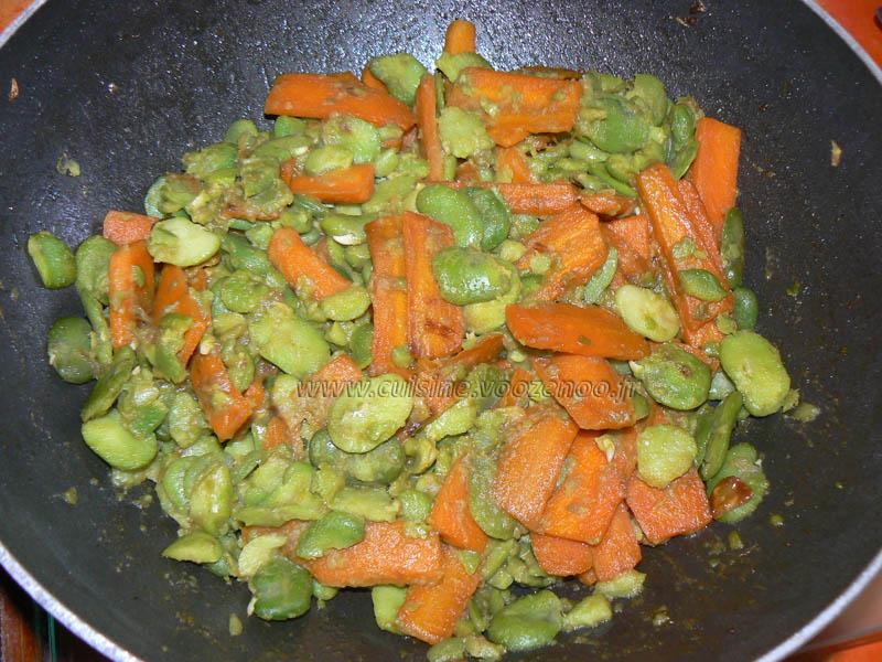 Fèves fraîches sautees aux carottes fin
