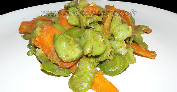 Fèves fraîches sautees aux carottes une