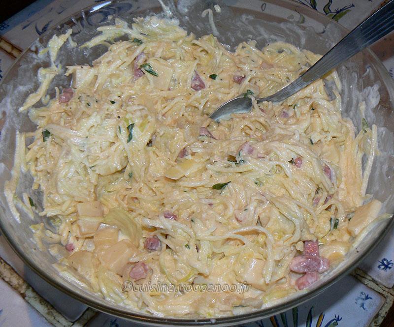 Gâteau de pommes de terre-courgettes au Saint Nectaire etape3