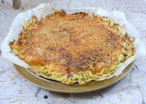Gâteau de pommes de terre-courgettes au Saint Nectaire presentation