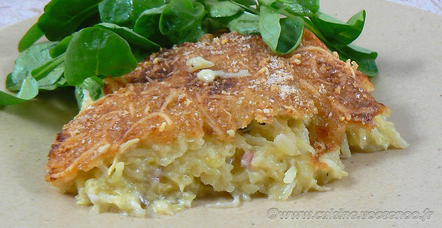 Gâteau de pommes de terre-courgettes au Saint Nectaire slider