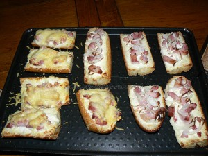 Tartines version flammekuche fin
