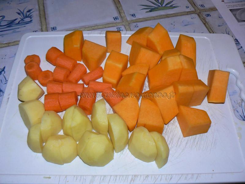 Soupe de courge butternut orangee etape1