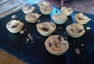Mini tartelettes Nutela crumble presentation