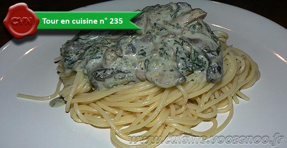 Spaghettis aux épinards, champignons et lardons