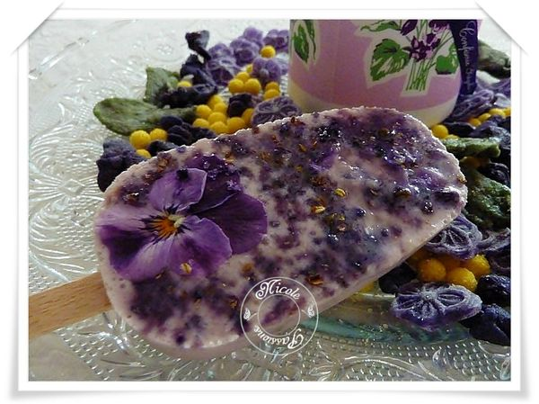 Baton glaces myrtille et violette incruste de pensée