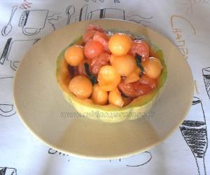 Salade de melon, pasteque et menthe fin