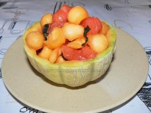Salade de melon, pasteque et menthe presentation