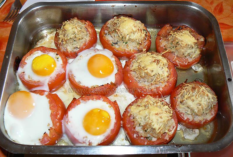 Tomates farcies au riz et oeufs gratines fin