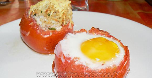 Tomates farcies au riz et oeufs gratinés