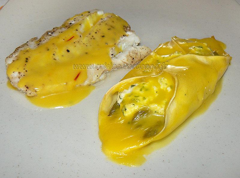 Lasagnes aux asperges, sauce safranée presentation