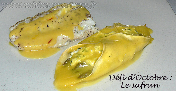 Lasagnes aux asperges, sauce safranée une