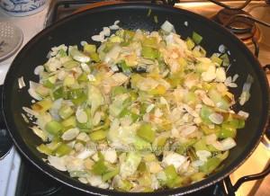Tourte aux poireaux, gorgonzola et amandes etape2