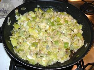 Tourte aux poireaux, gorgonzola et amandes etape3