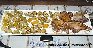 Côtes de porc et legumes marines une
