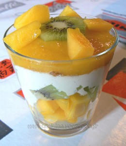 Verrines kiwi, mangue presentation