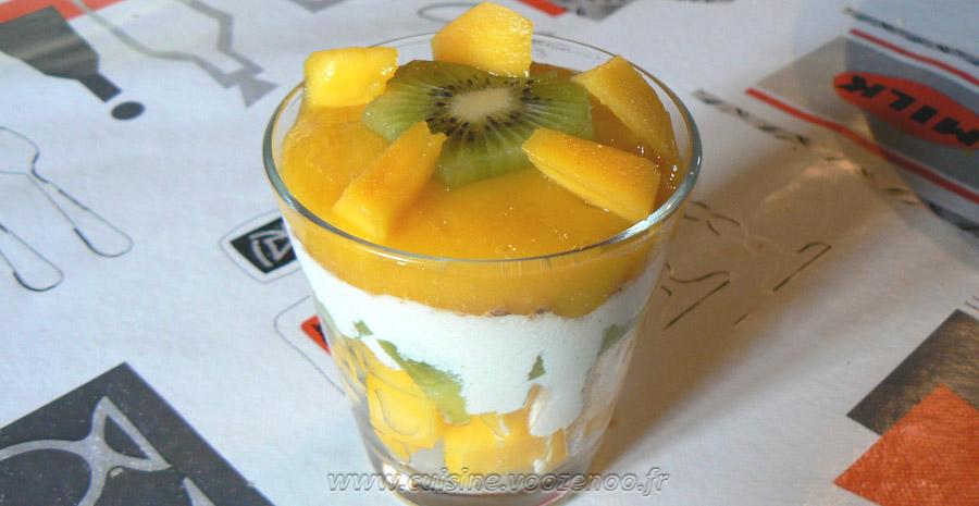 Verrines kiwi, mangue slider