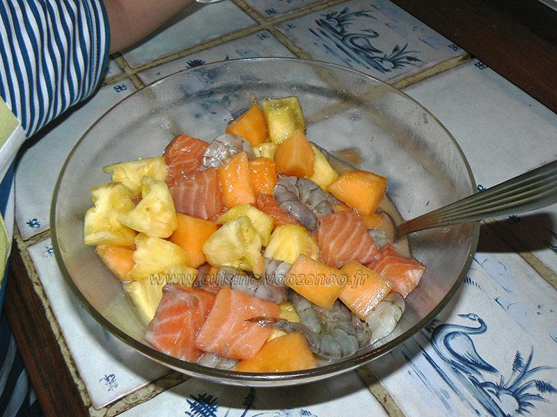 Brochettes de la mer aux fruits etape1