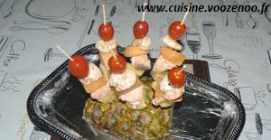 Brochettes de la mer aux fruits