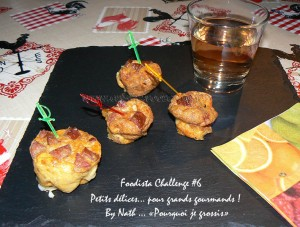 Mini bouchees au beaufort et saucisse de morteau presentation