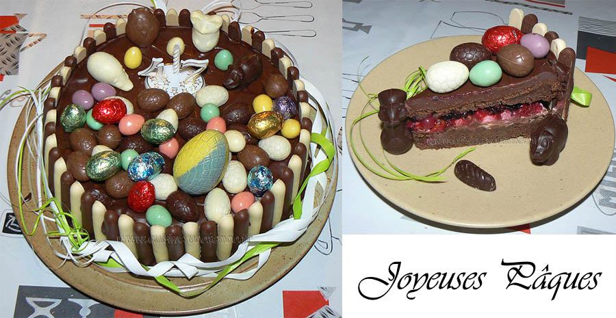 Gâteau au chocolat, finger et fruits rouges pour paques slider