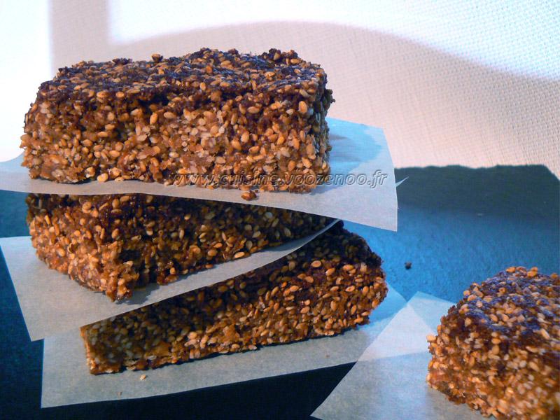 Barres au miel et aux graines de sésame presentation