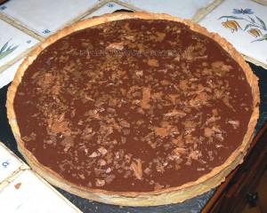 Tarte aux 2 chocolats, caramel et noix de pecan fin