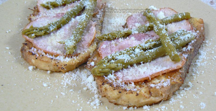 Pain perdu au bacon et asperges vertes