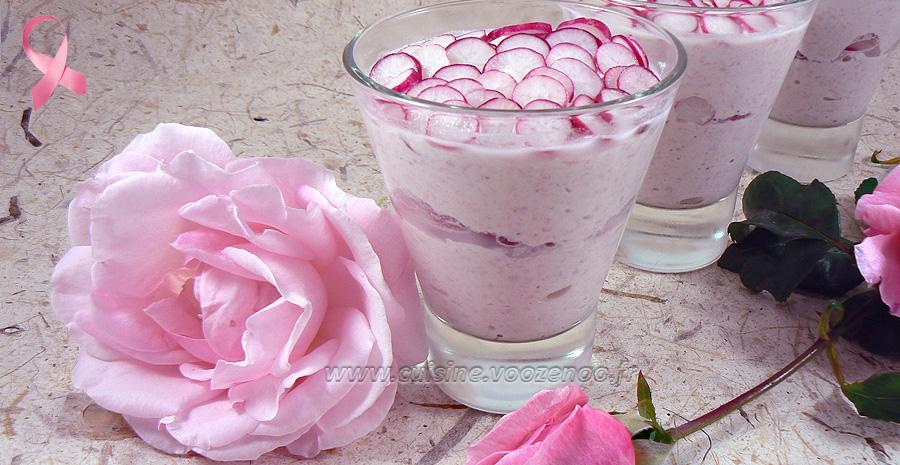 Verrines roses, jambon et radis slider