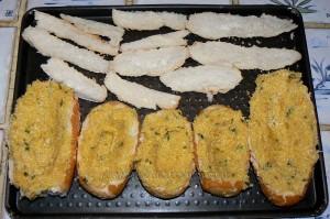 Egg boats : courge spaghettis, bacon, oeufs et comte etape3