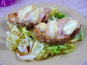 Tartines au jambon, poire et rocamadour presentation