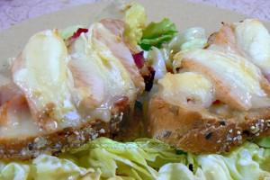 Tartines au jambon, poire et Rocamadour