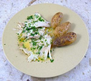 Ailes de raie sauce beurre fondu ou capres fin