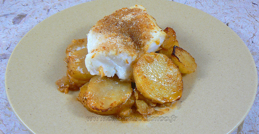 Dos de cabillaud sur pommes de terre épicées