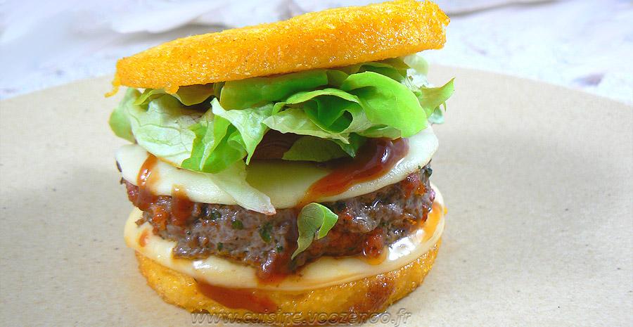 Hamburger de polenta au paprika steak de boeuf et chorizo slider