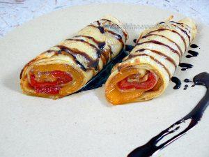 Crêpes roulées aux poivrons confits, reduction balsamique fin2