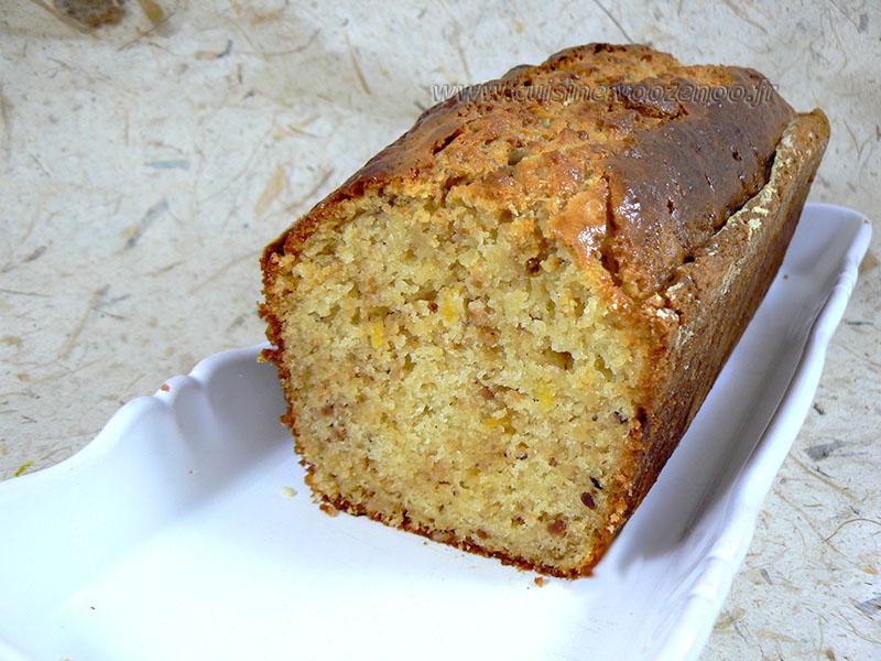 Cake à la ricotta, citron et pralin presentation