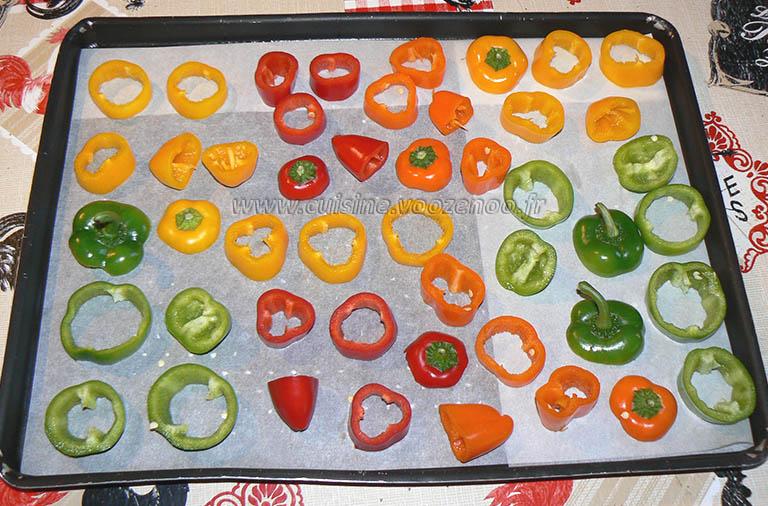 Mini-poivrons à l'huile de courge et aux graines de courge etape1