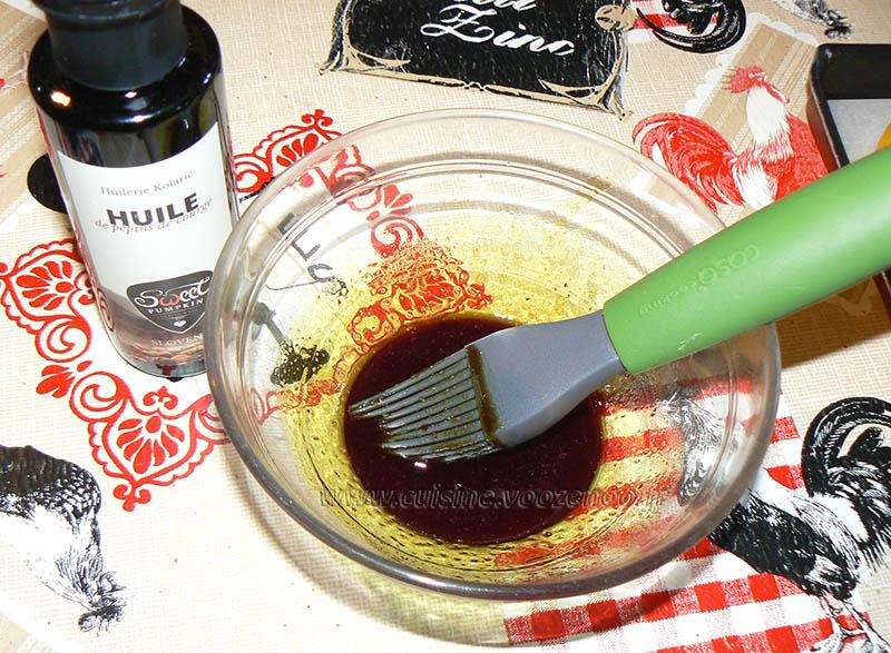 Mini-poivrons à l'huile de courge et aux graines de courge etape2
